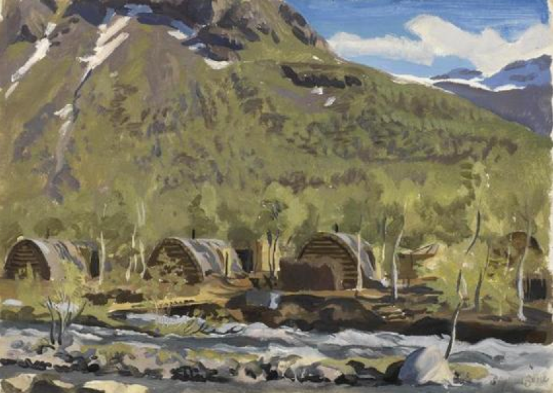 A German Camp in Kitdal Stephen Bone, British War Artist, 1945  © Imperial War Museum (Art.IWM ART LD 5339 http://www.storfjord.kommune.no/storfjord-1945-en-krigskunstners-inntrykk.5052462-108942.html).