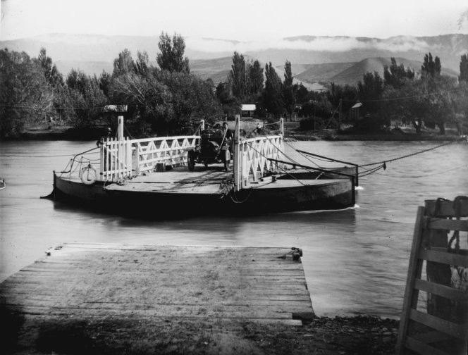 Before bridges were built the river was crossed by 'punts' . This is Lowburn punt  photographed by J Ingley in 1901 Ref: MNZ-1738-1/2-F. Alexander Turnbull Library, Wellington, New Zealand