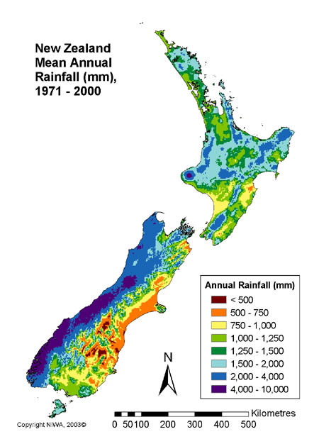 Mean Annual Rainfall in New Zealand showing massive rainfall on southern west coast (NIWA 2003)