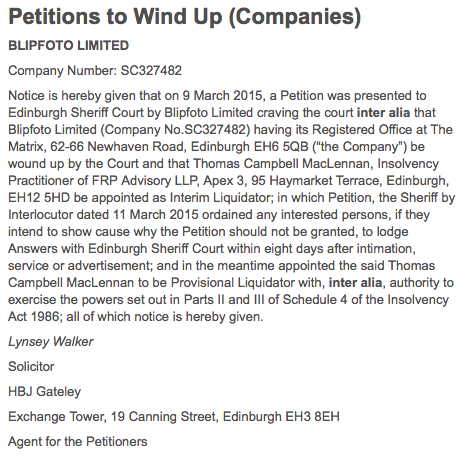 Publication of the Petition to Wind Up Blipfoto Ltd From The Gazette.