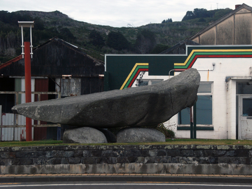 Stone sculpture, Bluff - possibly representing the Ngai Tahu waka - ocean-going canoe - that in mythology is represented by the shape of South Island. Motupōhue (Bluff Hill) is its sternpost.