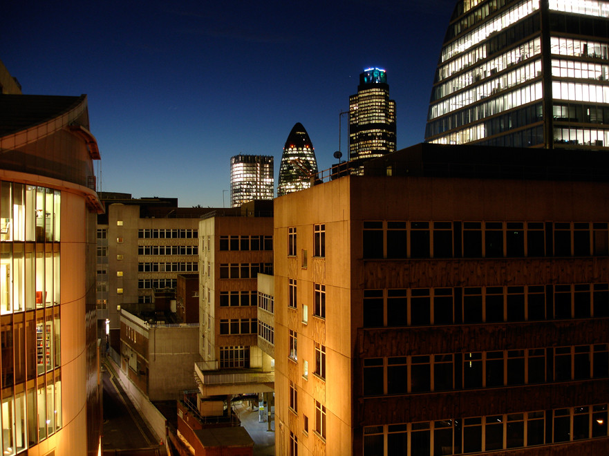 The City of London on a winter evening from New Union Street.
