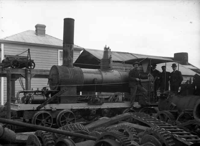Ring, James, (1856-1939). Steam locomotive built by G & D Davidson, at the ironfoundry at Hokitika c.1908 :  Ref: 1/2-179290-G. Alexander Turnbull Library.