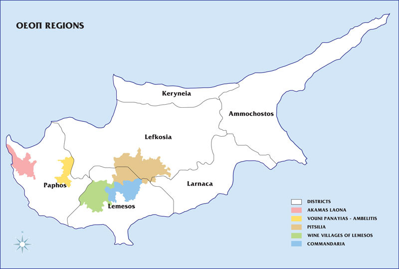 Map of Cyprus wine areas (c) Cypruswines.com
