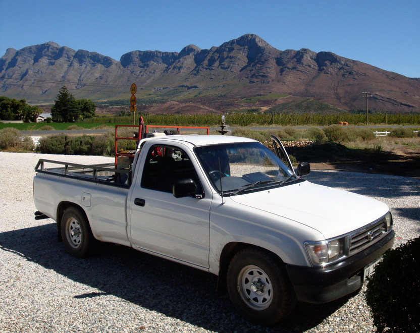 Bakkie( pick-up) in the Breede River Valley below the Bain's Kloof Pass (c) Peg Murray Evans