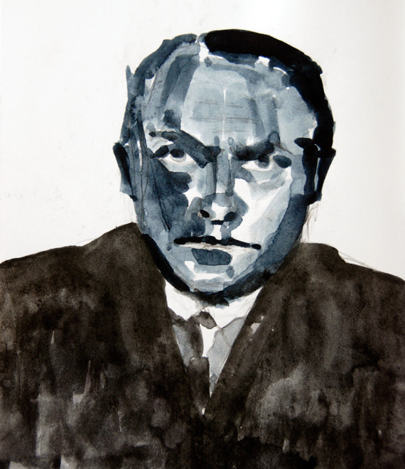 Study from Photo of Beckmann in the late 1920s (Watercolour and Pencil) (21x14) Fergus Murray