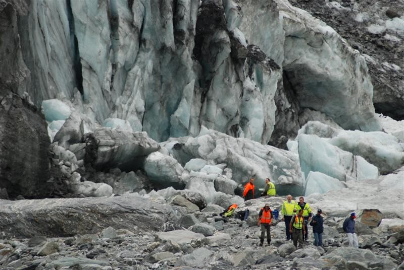 Guides and police at Fox Glacier with family members of the two Australian brothers killed underneath the Fox Glacier by hundreds of tons of falling ice (Click for link).