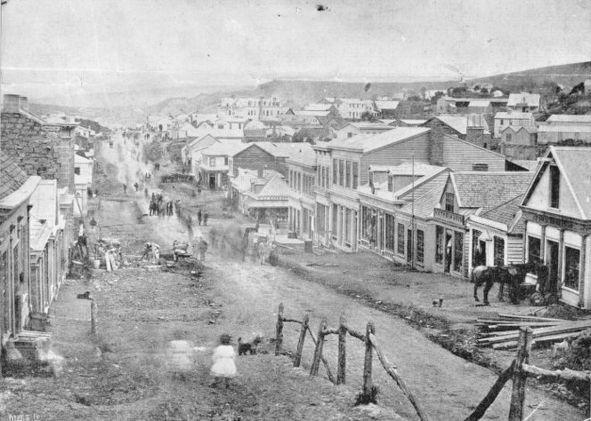 An early (1861) view of Dunedin's Princes Street. Ref: 1/4-002689. Alexander Turnbull Library, Wellington
