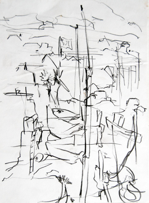 Newlyn Harbour 2 2005 (Pencil) (30x20) Fergus Murray Drawing