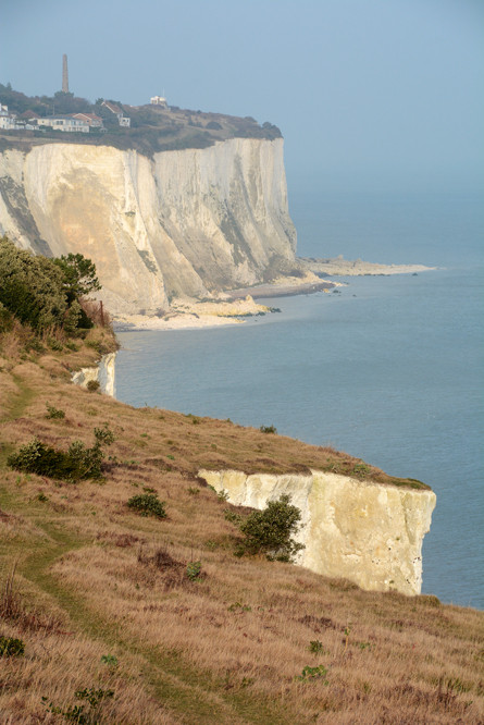 The North Downs end here. 80 million year old chalk beds at St Margarets Bay in pale winter sun.
