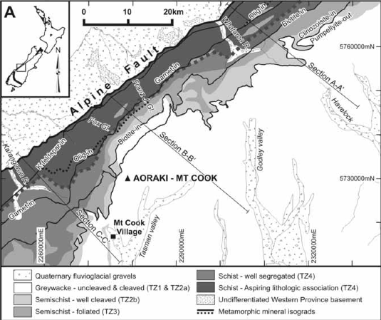 Geology of the Fox Glacier Region (New Zealand Geographical Service 2003 - Click photo for source)