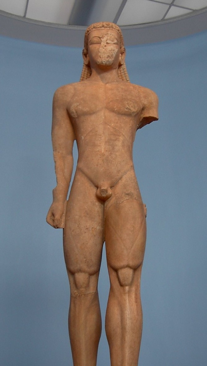 Sounion Kouros 590-580BC National Archeological Museum Athens (Courtesy Adam Carr @ Wikimedia)