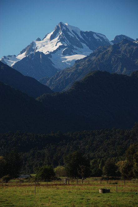 Mt Elie de Beaumont from the coastal flats near the Franz Josef Glacier on State Highway 6 on the west coast of the South Island of New Zealand.