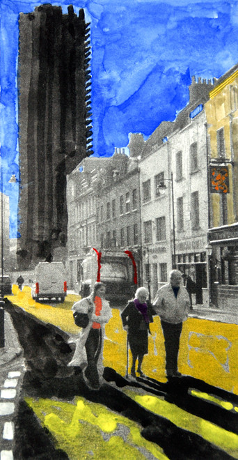 White Cross Street  2006 (Watercolour and Digital Print)  (23x120) Fergus Murray