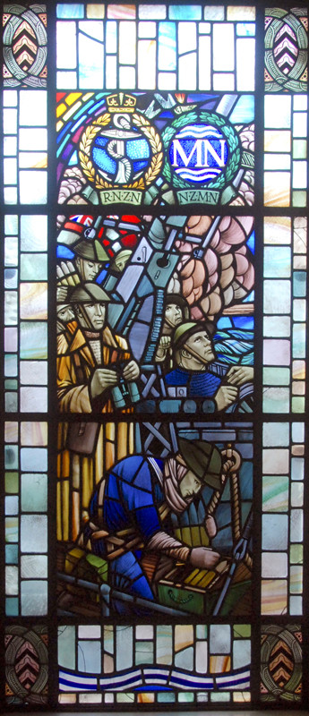 Stained glass window commemorating the IIWW fallen in the Royal New Zealand Navy and the New Zealand Merchant Navy.