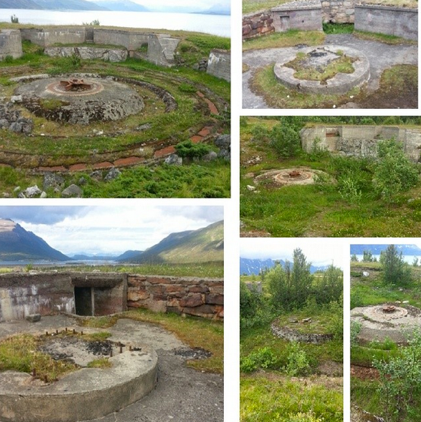 The remains of the bunkers and gun fooundations of a Nazi heavy artillery installation at Djupvik on the Storfjord that formed part of the Lyngen Line (Photo: thewehrmachtandss at #festunglyngenl on Instagram).