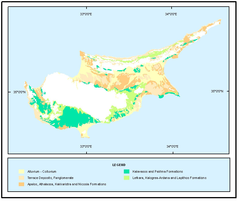 Geology of the non-mountain areas of Cyprus (c) Geological Survey Department)