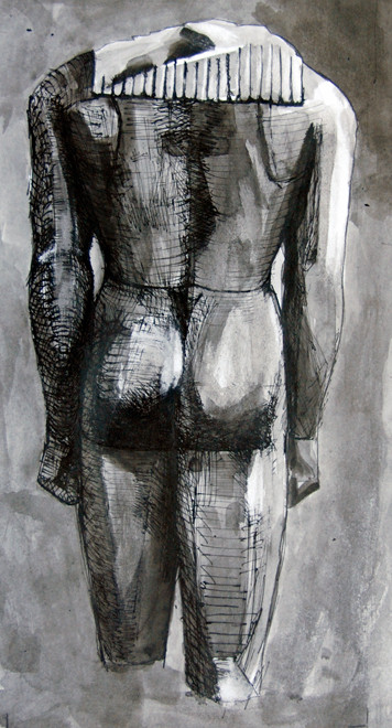 Actium Kouros Back 2009 (Indian Ink) (29x21) Fergus Murray