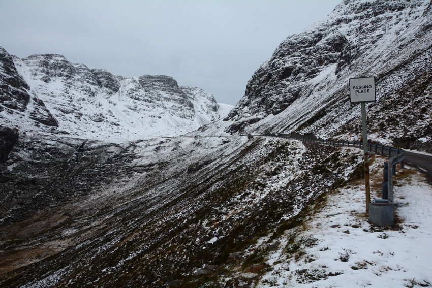 The ascent of the Bealach na Ba from Kishorn in mid-December 2014.