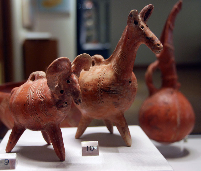 Red Polished ware zoomorphic vases, Early Cypriote  2500-1900BC Pierides Collection, Nicosia