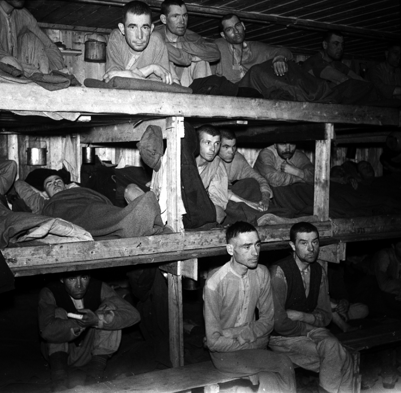 Russian PoWs at Saltfjellet labour camp in Norland on the Riksvei 50 north of Mo i Rana in 1945 after liberation (Norwegian National Archives - reproduced in Soviet Prisoners of War, Falstadsenteret, 2010).