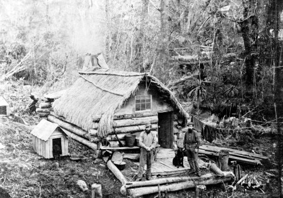 Gold Diggers and their hut, Westport, Westland in the 1880s. Photographer unknown. Ref: PAColl-4346-1-4. Alexander Turnbull Library, Wellington, New Zealand.