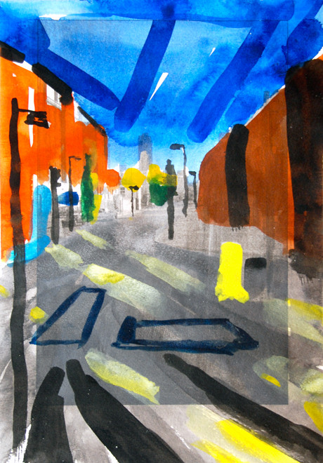 Barbican from Fish Central  2006 (Watercolour on digital print) (28x19) Fergus Murray
