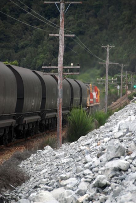 A Midland line coal train rattling away up the Otira Valley.