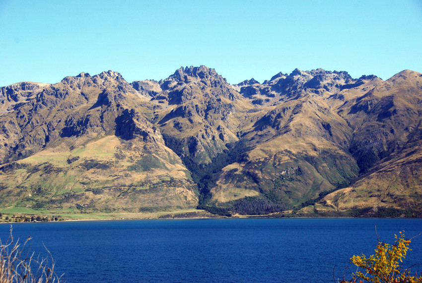 The southern end of Lake Wakatipu and the Eyre Mountains near Mt Dick (1805m), Southland, New Zealand.