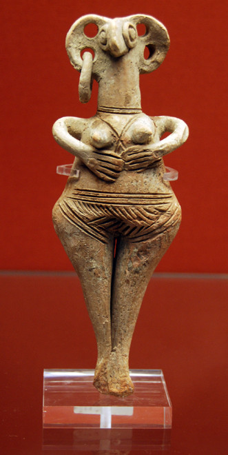 Terracotta Astarte female figure with large pierced ears and hands below her breasts, 1450-1200BC (British Museum: Cesnola Collection -not from Palaepaphos)