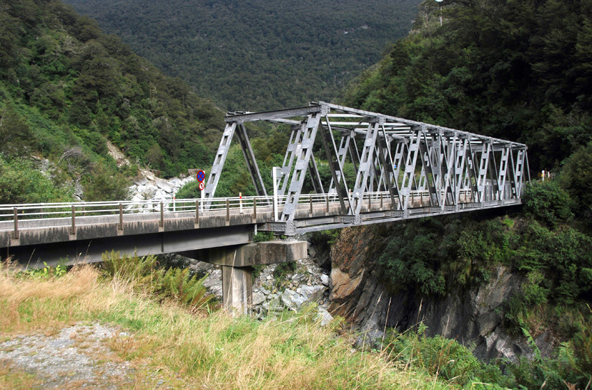The Gates of Haast Bridge below the Haast Pass.