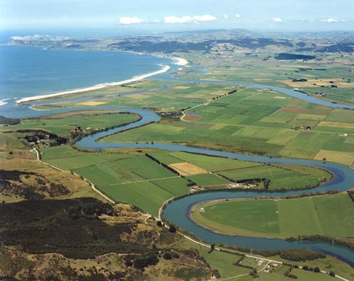 Inch Clutha and the river mouth (Courtesy GNS Science)