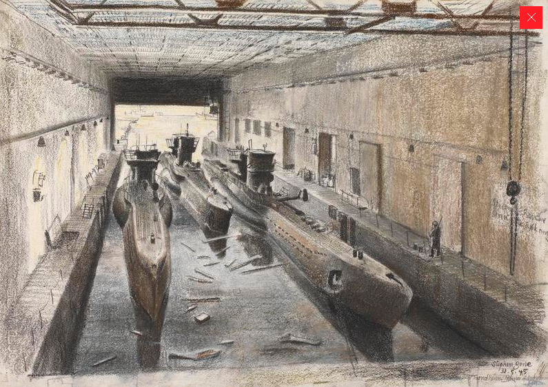 Trondheim: the interior of a submarine pen, Stephen Bone, British War Artist, 1945 © IWM (http://www.iwm.org.uk/collections/item/object/3226).