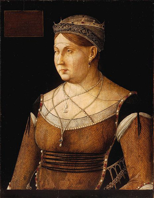 Portrait of Catherine Cornaro (Queen of Cyprus (1474-1489) by Gentile Bellini, at the Magyar Szépmüvészeti Múzeum, Budapest(c) Zenodot Verlagsgesellschaft mbH