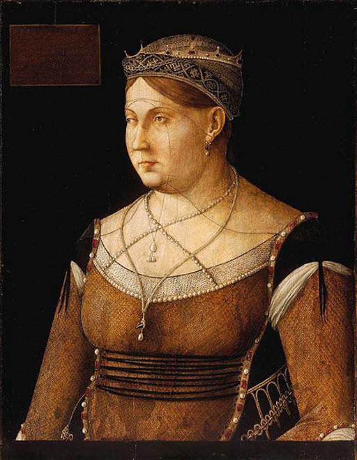 Portrait of Catherine Cornaro (Queen of Cyprus (1474-1489) by Gentile Bellini, at the Magyar Szépmüvészeti Múzeum, Budapest(c) Zenodot Verlagsgesellschaft mbH