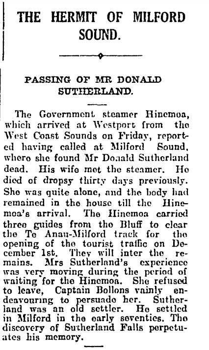 Donald Sutherland's obituary in The Press newspaper of Cantebury  1 December 1919