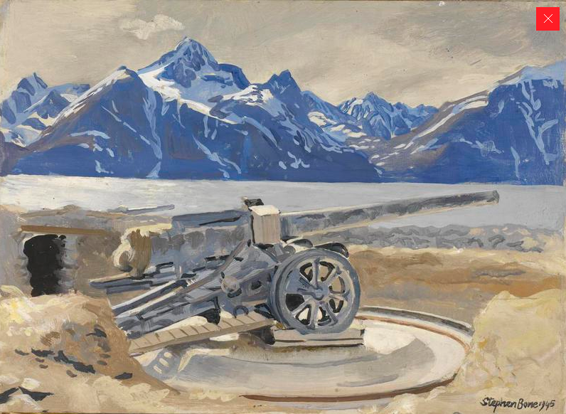 A German gun emplacement at Djupvik, Lyngen Fjord on the water's edge with snow-capped mountains rising in the background. Stephen Bone, 1945 a UK war artist in Norway.  (Imperial War Museum http://www.iwm.org.uk/collections/item/object/3249).