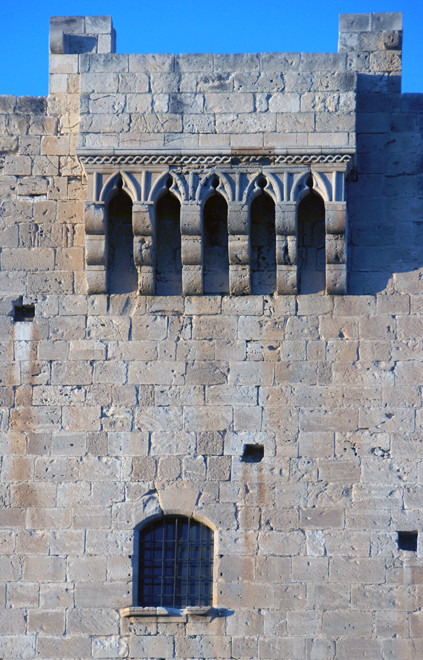 Detail of the The 15th century keep of the castle on the Knights Hospitaller at Kolossi in evening light, January 2013.