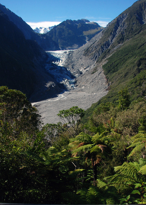 The Fox Glacier drops from 3000m to 220m where the lower valley is surrounded by temperate rain forest