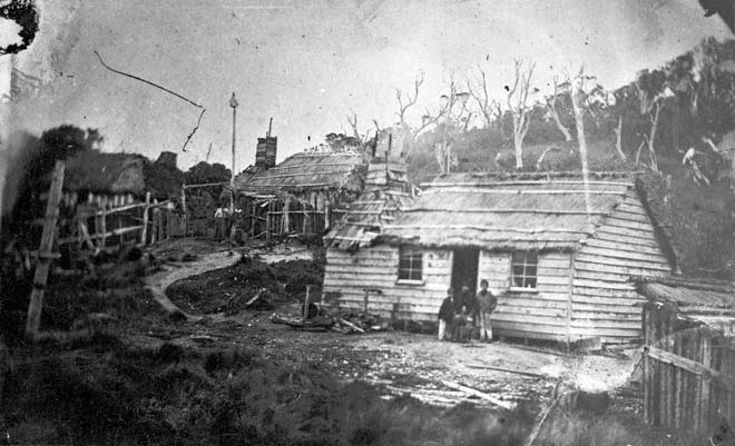 An 1860s photograph of dwelling on The Neck on Stewart Island shows a family group, likely outside their own thatched-roofed house (Alexander Turnbull Library).