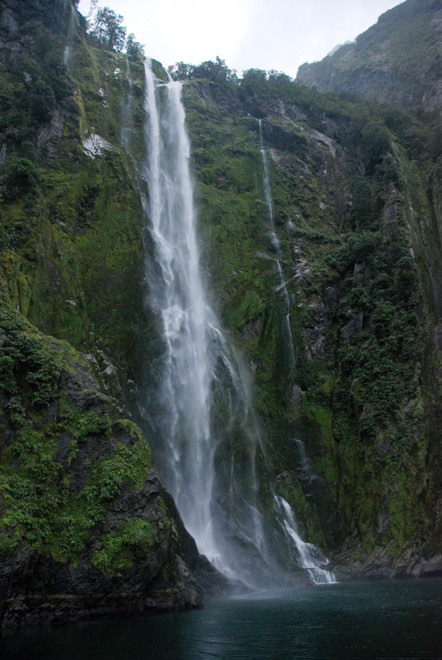 The 155m Stirling Falls as it tumbles into Milford Sound from the hanging valley above.
