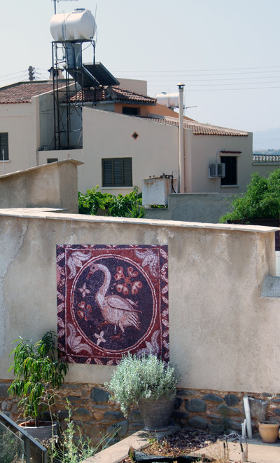 Copy of the motif (mosaic?) on the front of the restored 'Peristerona House'