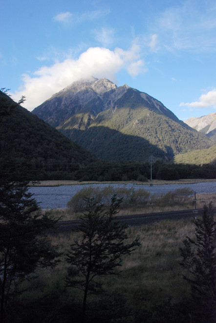 The Mingha River and Mt Williams (1718m/5636ft) in early evening light in late March