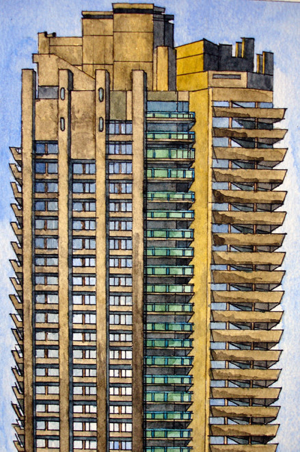 Lauderdale Tower, Barbican 2006 (Watercolur) (24x19) Fergus Murray