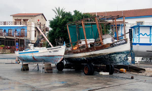 Looking for Ancient Cyprus, Lakki Boatyard in rain