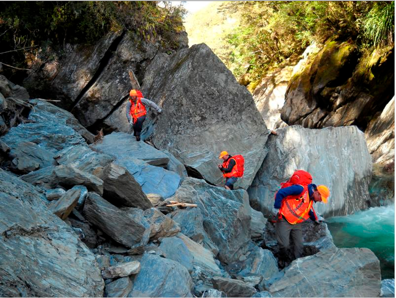 The Fox Glacier alpine cliff rescue team searches the upper Haast gorge for the bodies of two Canadians killed by a landslip while driving through the Pass in 2013. The fuel tank of the campervan was found 50km away (Otago Daily Times - click for link)