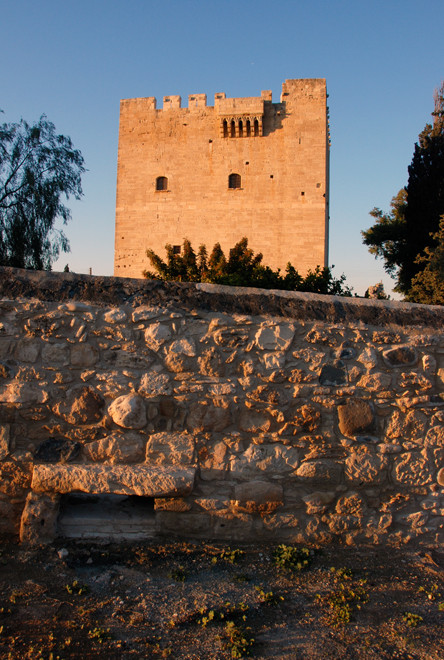 The 15th century keep of the castle on the Knights Hospitaller at Kolossi in evening light, January 2013.