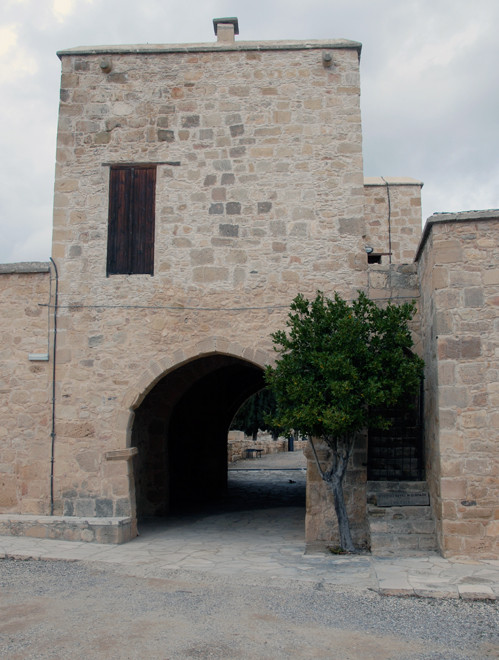 The imposing gatehoure of the 13th century  Lusignan coutyard royal manor house at Couvoucle (Kouklia) January, 2013