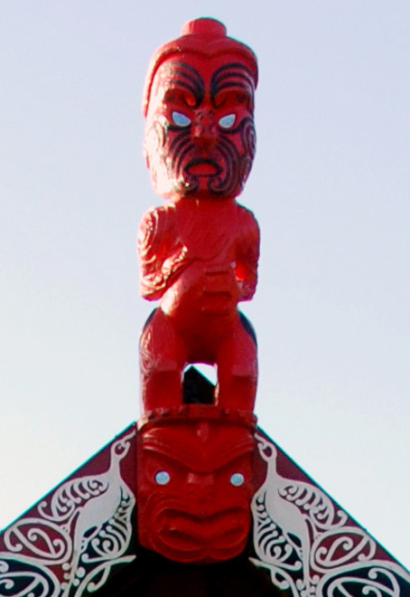 Carved roof pole of Taupo whare, Golden Bay.