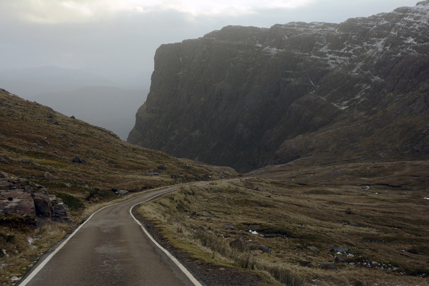 The Bealach descent to Kishorn past the impossing bulk of the Meall Gorm (710m) and the buttress of Creag a Chumhaing.